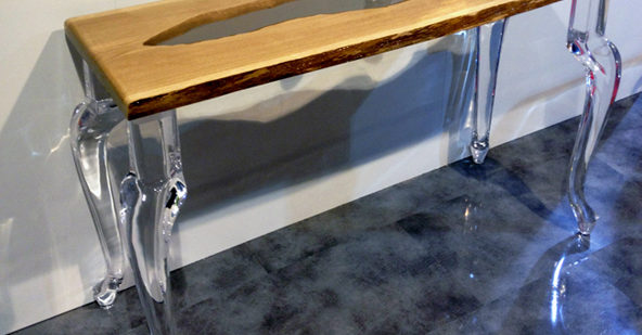 Console in plexiglass e legno Laguna