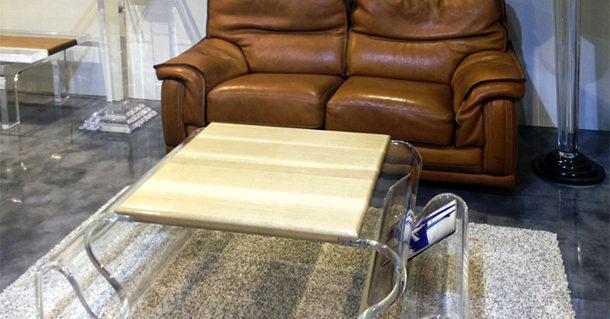 Tavolino in plexiglass e legno 'Waves'