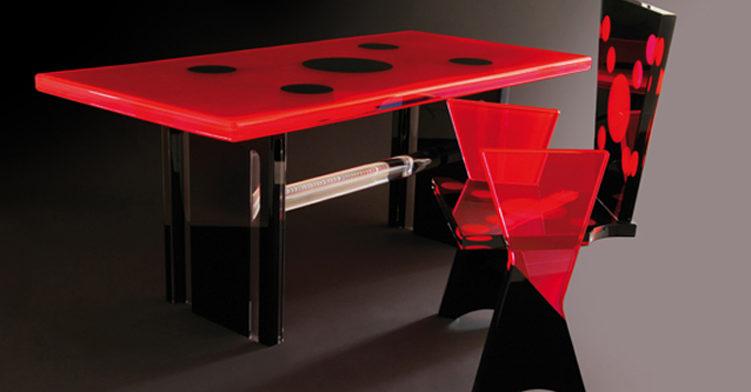 Tavolo es sedia in plexiglas 'Coccinella